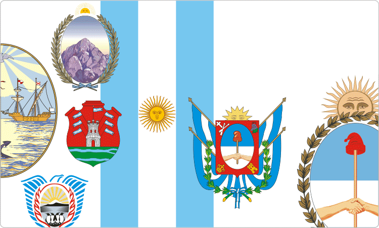 Heraldik von Argentinien / argentinischen Flaggen und Wappen