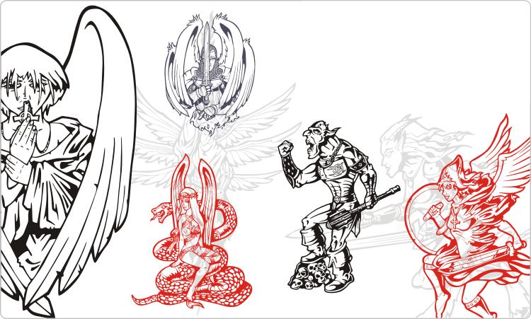 Künstlerische Tattoo-Designs: Engel, Dämonen und Krieger