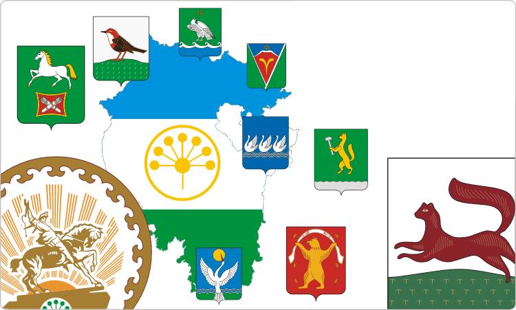 Russische Regionen. Heraldik von Baschkortostan