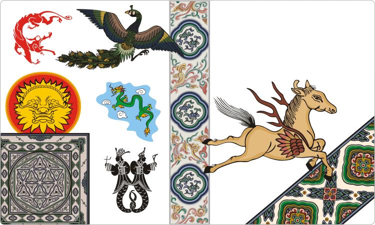 Chinesische Motive und Ornamente