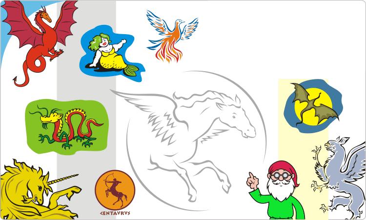 Fabelwesen Clipart: Drachen, Greifen, Einhörner