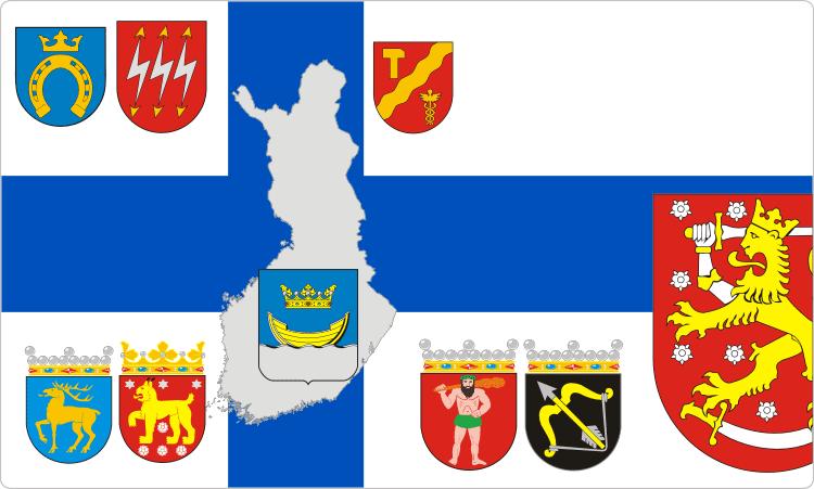 Heraldik von Finnland / Finnische Flaggen und Wappen