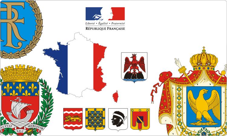 Wappenkunde von Frankreich / Französisch Flaggen und Wappen