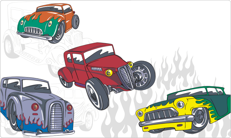 Weinlese-Hot Rods Clipart
