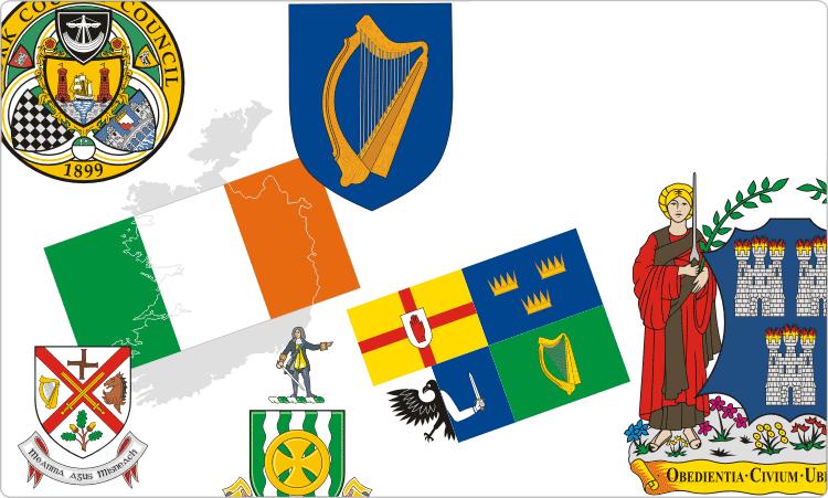 Irische Flaggen und Wappen