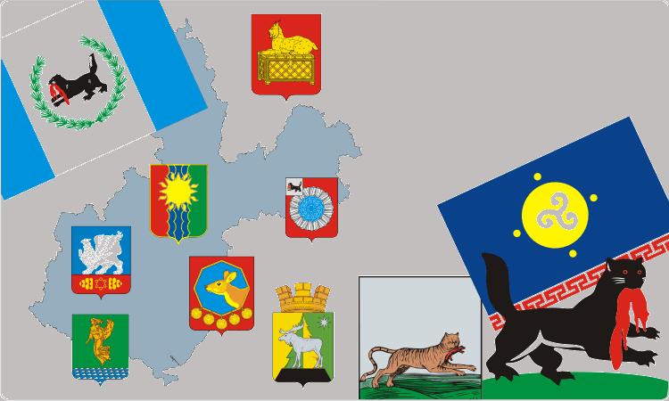 Russischen Regionen. Heraldik der Oblast Irkutsk