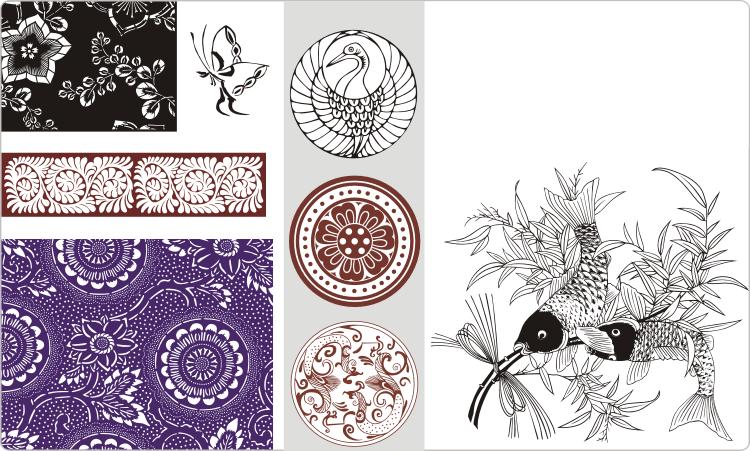 Japanische Ornamente und Designs