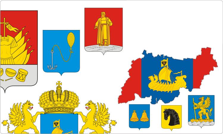 Russische Regionen. Wappen und Flaggen der Region Kirow