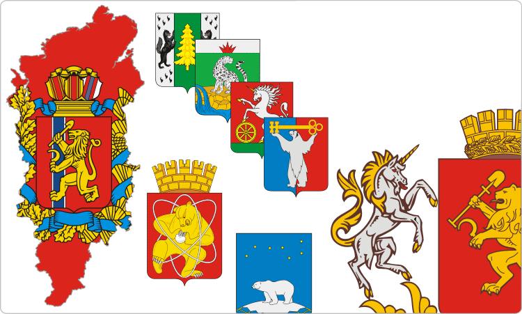 Russische Regionen. Heraldik der Region Krasnojarsk