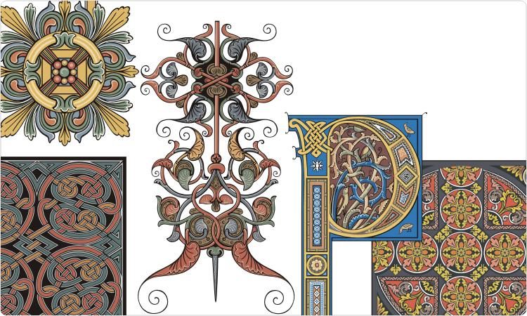 Old-Time-Dekorationen und mittelalterliche Ornamente