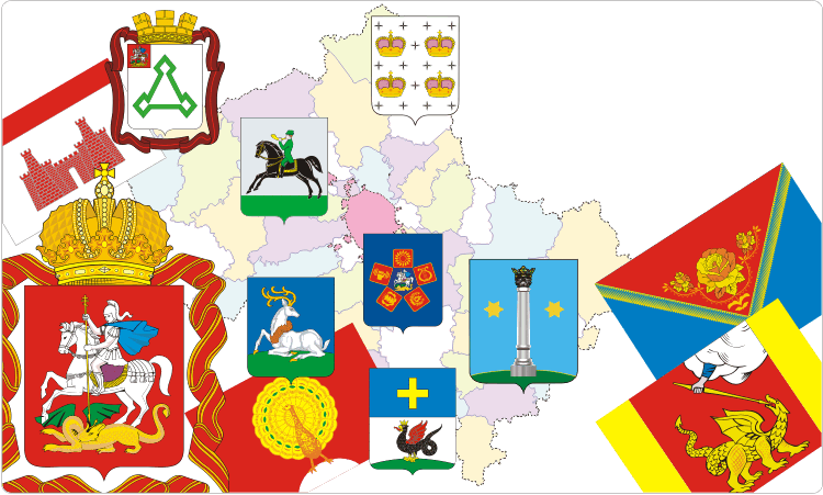 Russischen Regionen. Heraldik der Oblast Moskau