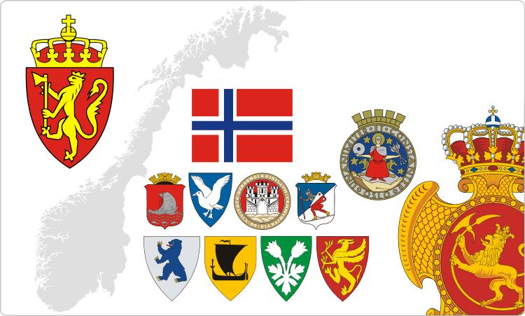 Heraldik von Norwegen / Norwegische Flaggen und Wappen
