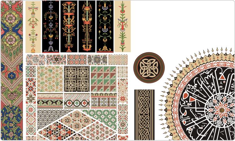 Vektor-Ornamente aus Grammar von J. Owen