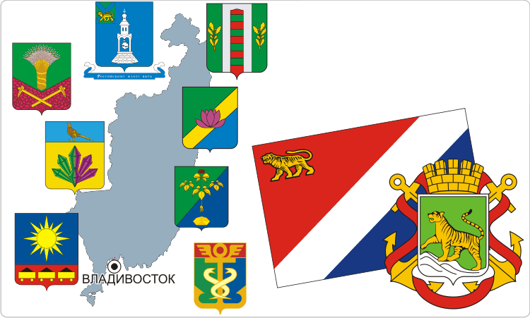 Russische Regionen. Heraldik der Region Primorje