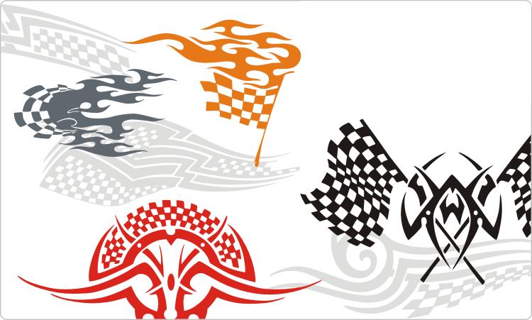 Racing Rennen Flammen und Tattoos