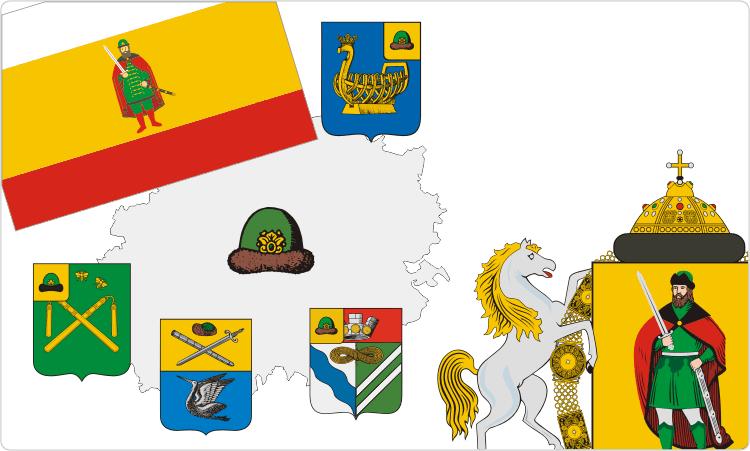 Russischen Regionen. Heraldik der Oblast Rjasan