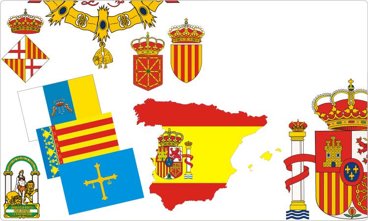 Spanische Wappen und Flaggen