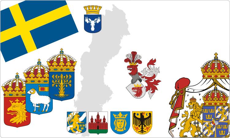 Schwedische Flaggen und Wappen