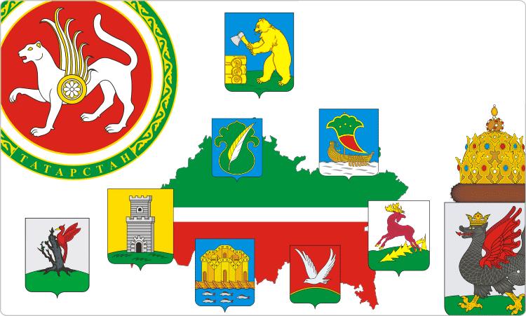 Russische Regionen. Heraldik von Tatarstan