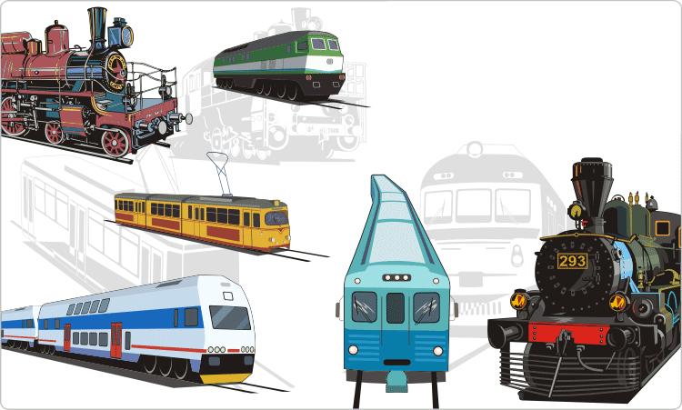 Züge und Straßenbahnen Clipart
