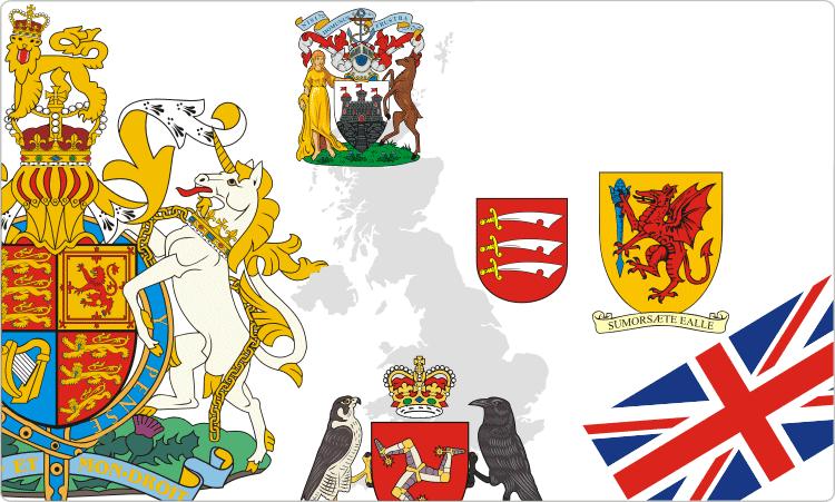 Britische Wappen und Flaggen