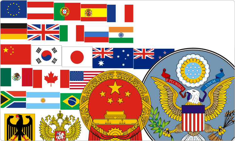Staatliche Flaggen und Wappen