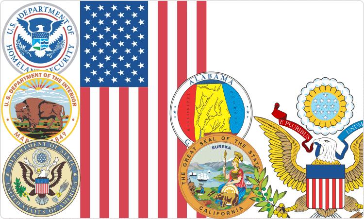 US-Flaggen und Siegel
