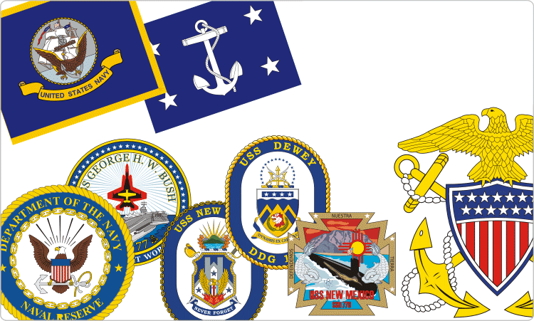 US Navy Insignia & Ship Wappen
