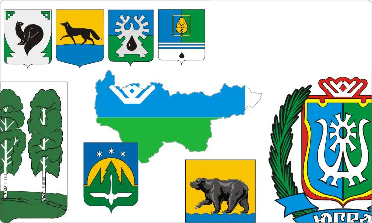 Wappen und Flaggen von Chanten-Mansien (Jugra)